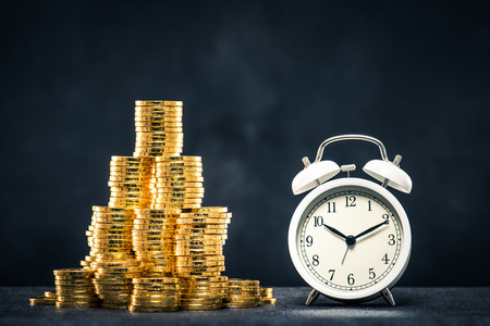 A large amount of money and alarm clock