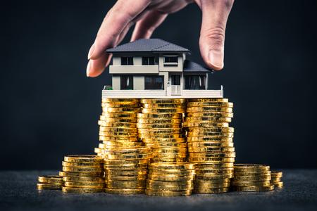 Una gran cantidad de dinero y modelo de casa