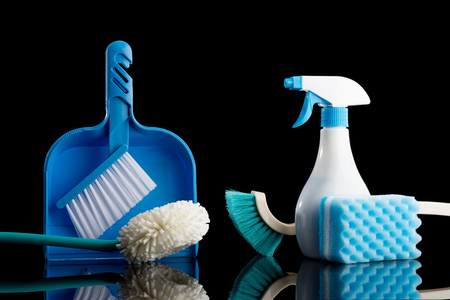 Cleaning tools black background