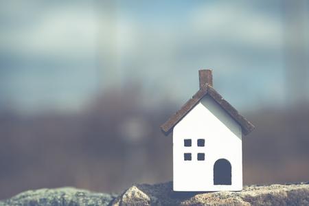 住宅モデルと風景をコピー スペース