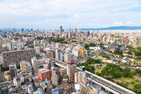 Het stadslandschap van Osaka, Japan Stockfoto
