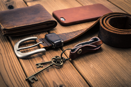 Leather accessories flat layout Stock Photo