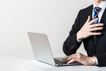 Laptop and businessman Body Parts