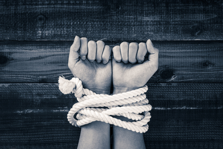 Rope tied hand