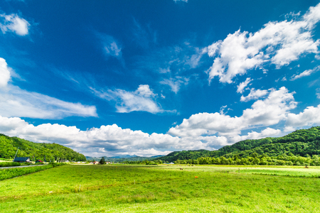 草原と青空 写真素材