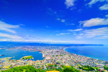 Vista de Hakodateyama en Hokkaido Japón Foto de archivo - 81932661