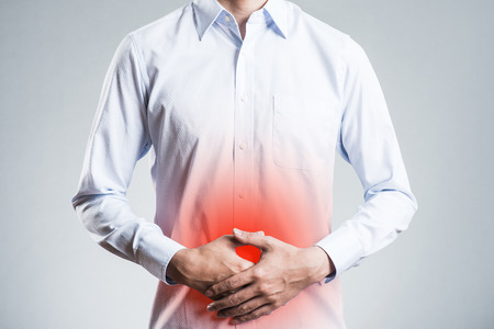 Male, abdominal pain Stock Photo