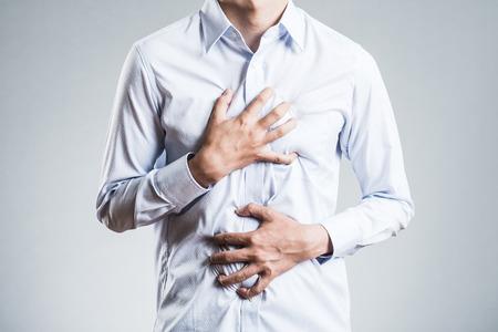 Mannelijke borstkas, ziek Stockfoto