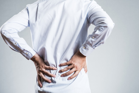 Male, low back pain Stock Photo