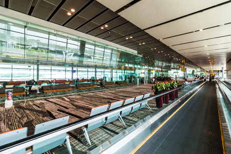 Changi, Singapore - September 9, 2017: Changi Airport in Singapore.It is the primary civilian airport for Singapore, and one of the largest transportation hubs in Southeast Asia.