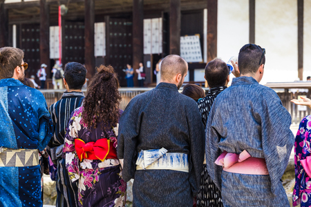 Foreigner wearing a japanese Yukata