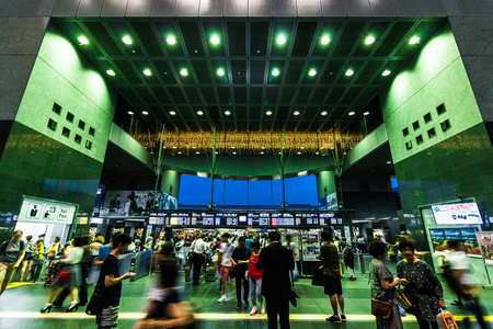 Kyoto,Japan - August 21, 2017: Kyoto Station is a railway station and transportation hub in Kyoto, Japan. Редакционное