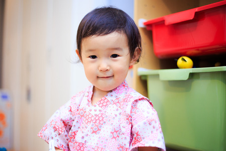 Children in japanese kimono