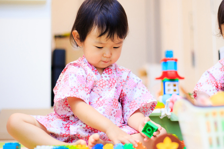 Children playing with toys Stock Photo
