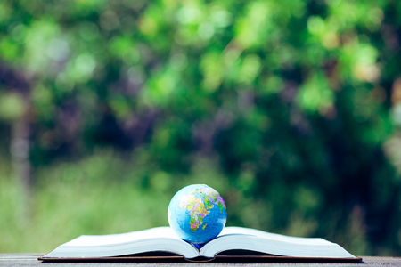 The globe placed on the book and green blur background Imagens