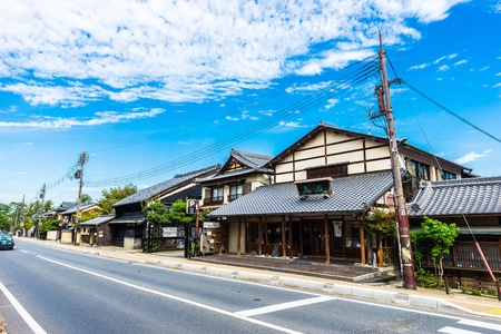 NARA, Japan-September 21, 2017: Nara is the capital city of Nara Prefecture located in the Kansai region of Japan. The city occupies the northern part of Nara Prefecture, bordering Kyoto Prefecture.