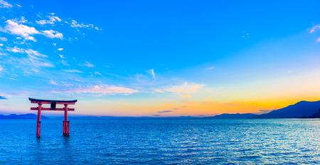 Torii and Lake Biwa, Shiga Prefecture in Japan