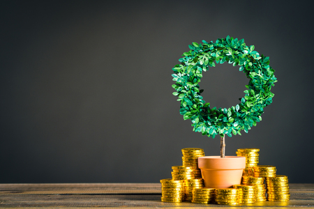 plants and lot of gold coins Stock Photo