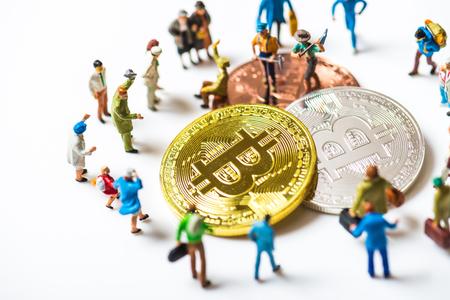 Miniature people with bit coin Stok Fotoğraf - 91205360