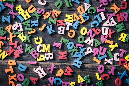 Many colorful alphabets Stock Photo