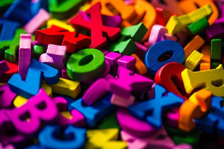 Many colorful alphabets Stock Photo