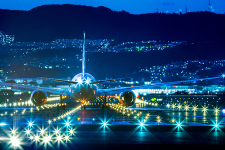 Passenger airplane landing in night