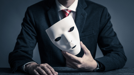 Mask and businessman