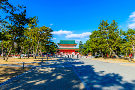Kyoto, Japan - December 18, 2017: Heian-jingu Shrine in Kyoto, Japan.This Shrine is a Shinto shrine located in Sakyo-ku.