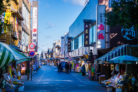Mie, Japan -  14 December 2017 - Oharai-machi Street in Mie Japan.It is a tourist spot in front of Ise Jingu Shrine. There are various stores and restaurants. Editorial