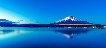 Mt. Fuji at dawn and Lake Yamanaka