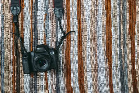 Digital camera tools on colorful cloth Stock Photo
