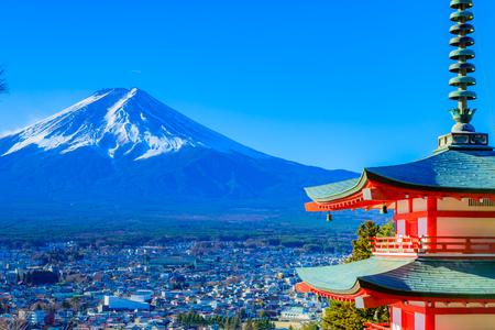 Yamanashi, Japan - December 28, 2017 : Mount Fuji and Chureito Pagoda. Chureito pagoda is located at Asakurayama in Fujiyoshida, Japan. Mount Fuji, Fuji san is famous mountain in Japan. Fuji is Japan