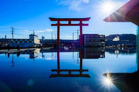 Sizuoka, Japan - December 28, 2017 :Torii gate and Mt. Fuji World Heritage Center in Shizuoka Prefecture,Japan. Editorial