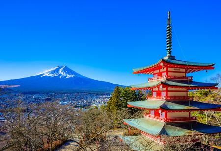 Yamanashi, Japan - December 28, 2017 : Mount Fuji and Chureito Pagoda. Chureito pagoda is located at Asakurayama in Fujiyoshida, Japan. Mount Fuji, Fuji san is famous mountain in Japan. Fuji is Japan's highest mountain. 에디토리얼
