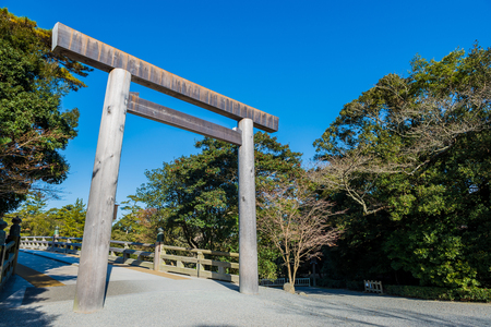 Mie, Japan - December 14, 2017: Ise Jingu is the shinto shrine. Located in Ise city, Mie Prefecture, Japan.