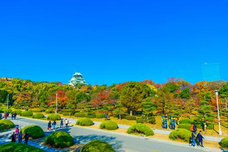Osaka,Japan - November 28, 2017: Osaka Castle in Osaka, Japan. The castle is one of Japan's most famous landmarks.
