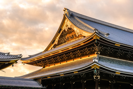 Kyoto,Japan - 18 December 2017: Higashi Honganji is one of two dominant sub-sects of Shin Buddhism in Japan and abroad, the other being Nishi Honganji.
