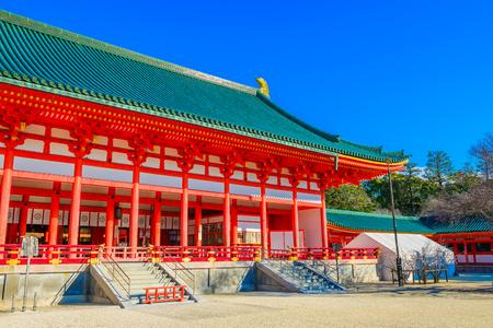 Kyoto, Japan - December 21, 2017: Heian-jingu Shrine in Kyoto, Japan.This Shrine is a Shinto shrine located in Saky?-ku.