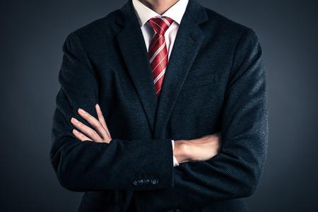Homem negócios, com, cinzento, costas