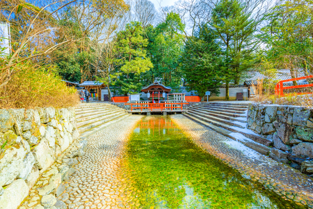 Kyoto, Japan - January 25, 2018: Shimogamo shrine is one of the oldest shinto shrines in Kyoto, Japan. Its formal name is Kamo-mioya-jinja. Éditoriale