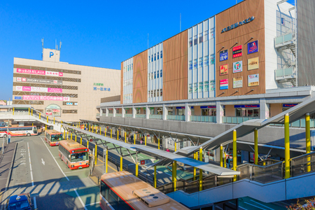 Hyogo,Japan - February 9, 2018: Sanda Station is a Japan railway station in Hyogo, Japan. Редакционное