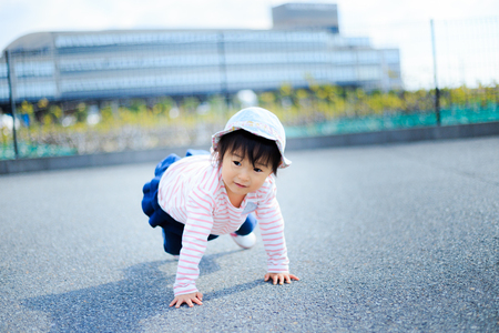 japanese cute children playing outdoor