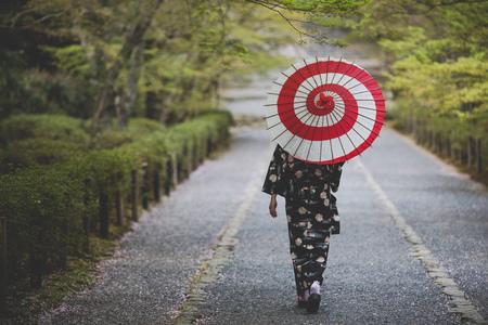 Kimono women and umbrellas at Kyoto Japan