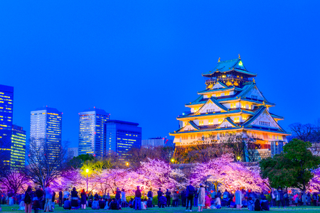 Osaka,Japan - March 28, 2018: Osaka Castle in Osaka, Japan. The castle is one of Japan's most famous landmarks. 에디토리얼