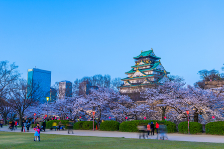 Osaka,Japan - March 28, 2018: Osaka Castle in Osaka, Japan. The castle is one of Japans most famous landmarks.