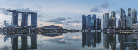 SINGAPORE, May 17,2018 : View of Singapore skylines.Financial District buildings and Marina bay sand.