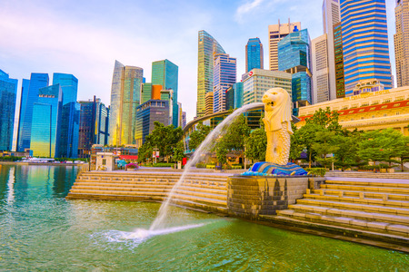 SINGAPORE, May 16,2018 : Merlion Park and financial district buildings in Singapore.