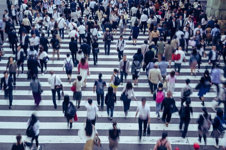 Crosswalk and people in Japan 報道画像