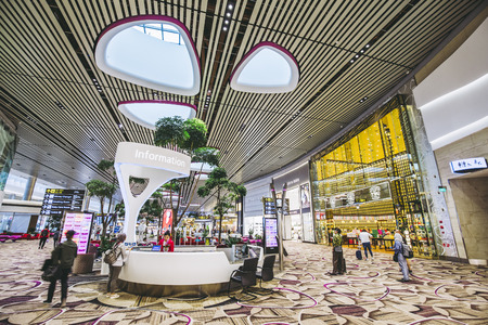 Changi, Singapore - May 18,2018: Changi Airport in Singapore.It is the primary civilian airport for Singapore, and one of the largest transportation hubs in Southeast Asia. 報道画像
