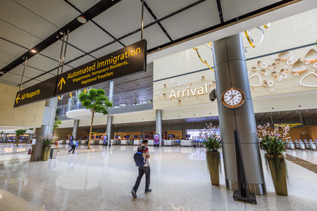 Changi, Singapore - May 15,2018: Changi Airport in Singapore.It is the primary civilian airport for Singapore, and one of the largest transportation hubs in Southeast Asia.